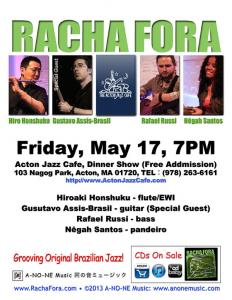 Racha Fora Special Edition Dinner Show at Acton Jazz Cafe, Fri, May 17